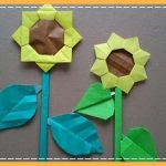 折り紙 ひまわりの葉っぱや茎の簡単な折り方・作り方!
