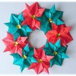 折り紙 でポインセチアのリースの作り方!クリスマス飾りに!